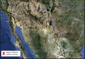 Major border crossings on the US Mexico Border